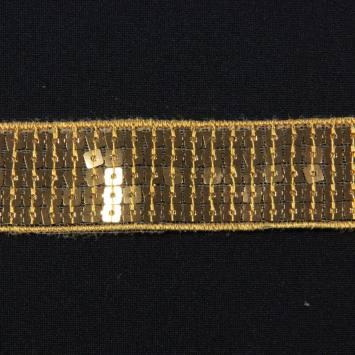 Bobine 10m Galon paillettes carrées or