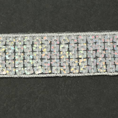 Bobine 10m Galon paillettes carrées argent