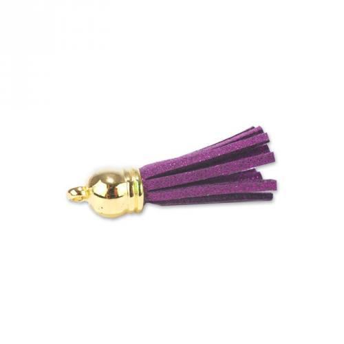 Pompon franges suédine violet 37 mm