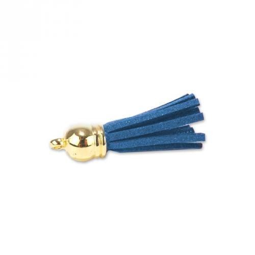 Pompon franges suédine bleu 37 mm