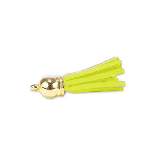 Pompon franges suédine jaune fluo 37 mm