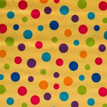 Satin jaune pois multicolores
