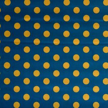 Satin bleu pois jaune
