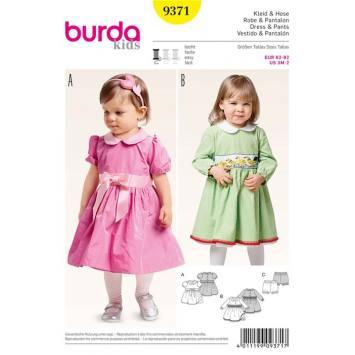 Patron Burda 9371: Robe & Pantalon Taille : 62 à 92 cm