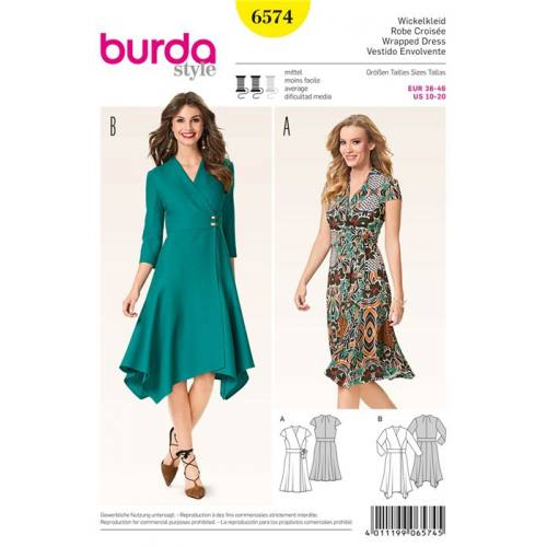 Patron Burda 6574: Robe croisée Taille : 36-46