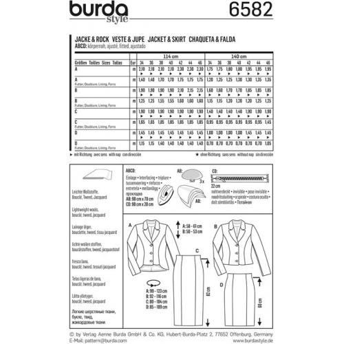 Patron Burda 6582 : Veste & Jupe Taille : 34-46