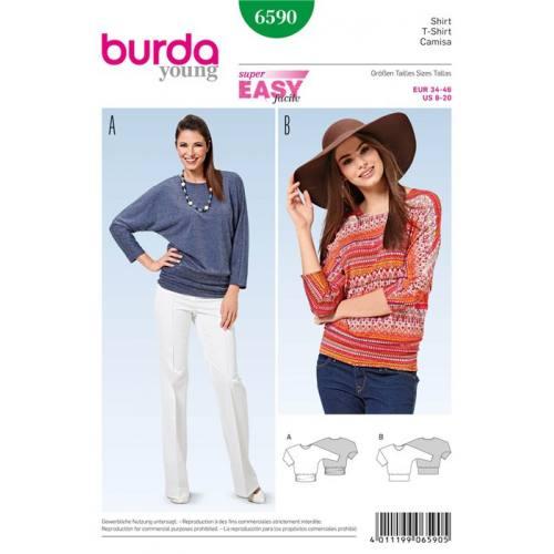 Patron Burda 6590 : T-shirt Taille : 34-46