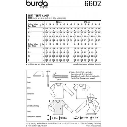 Patron Burda 6602 : T-shirt Taille : 32-46 & 44-56