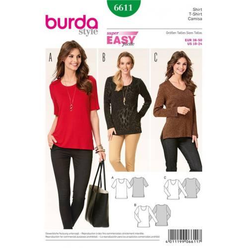 Patron Burda 6611 : T-shirt Taille : 36-50