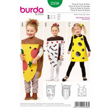 Patron Burda 2358 Carnaval : Pizza & Tarte & Fromage Taille: 92/98-116/122