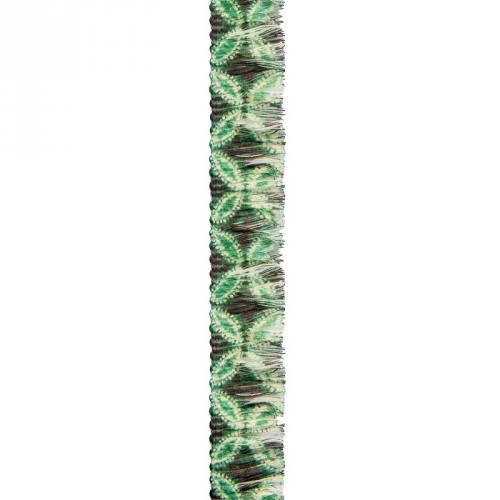 Ruban franges 30 mm fleurs vertes