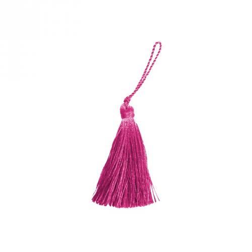 Pompon franges fuchsia 7 cm