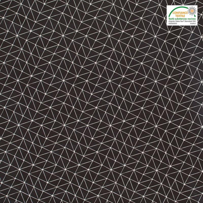 Coton noir motif graphique blanc pas cher tissus price - Motif noir et blanc ...