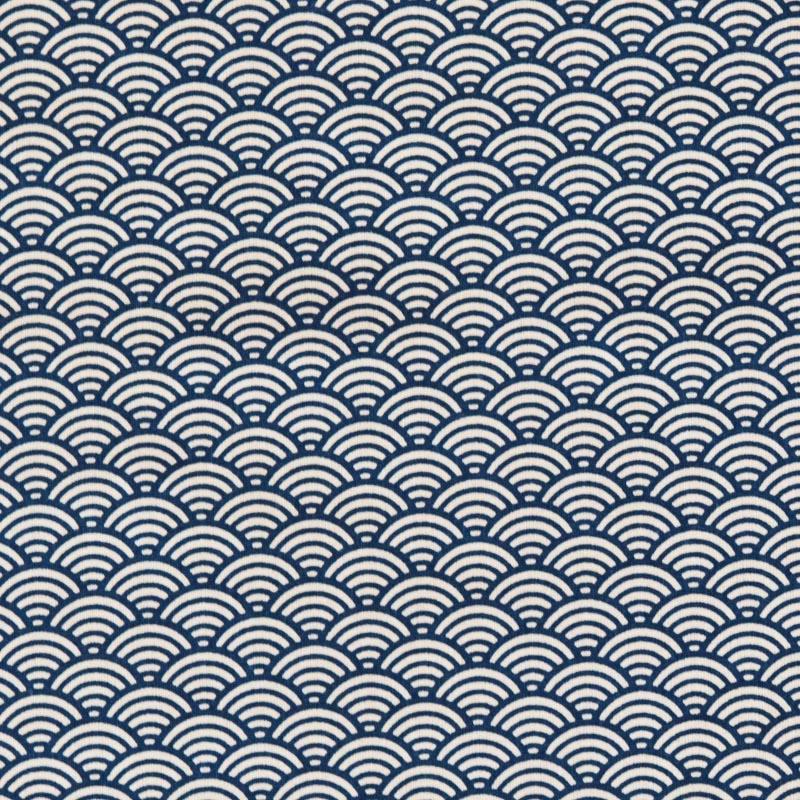 Coton bleu motif seigaiha