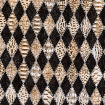 Simili cuir marron à relief anaconda ethnique