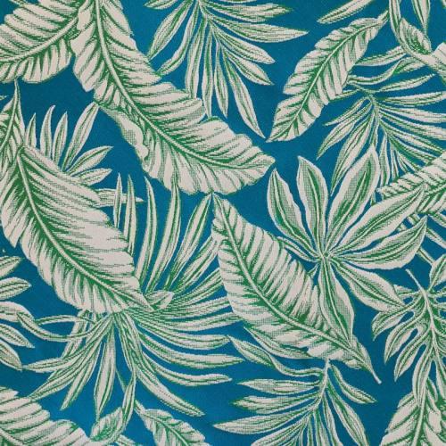 Jacquard bleu motif végétation