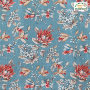 Lin turquoise imprimé fleurs