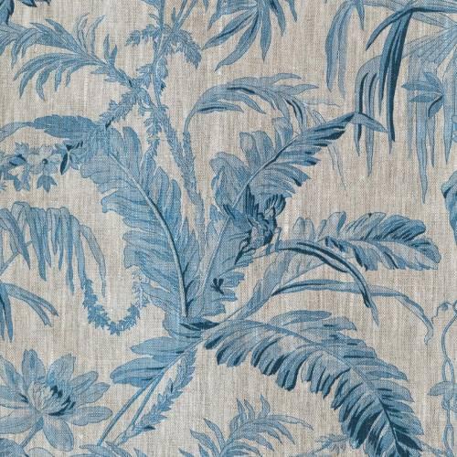 Lin imprimé fleurs turquoise jungle