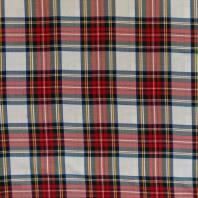 Tissu tartan blanc, bleu et rouge