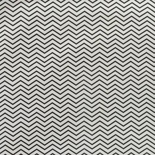 Coton blanc motif chevron noir