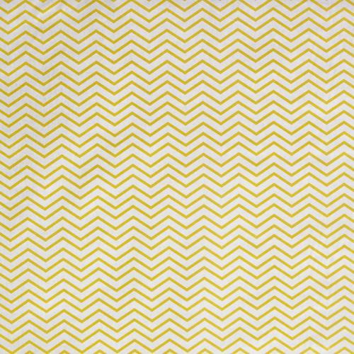 Coton blanc motif chevron jaune