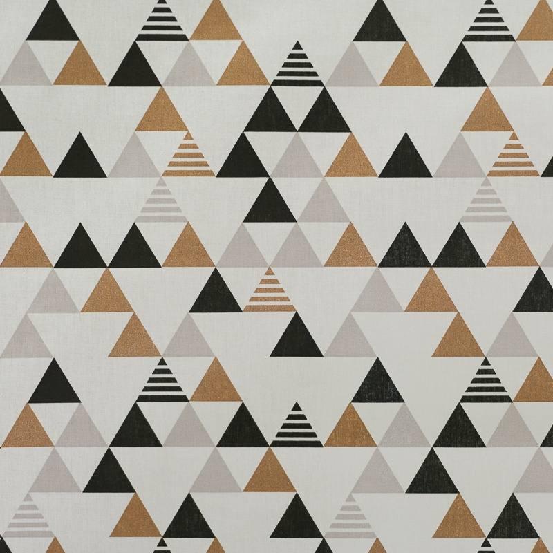 Coton blanc motif triangle bronze gris et noir pas cher tissus price - Motif noir et blanc ...