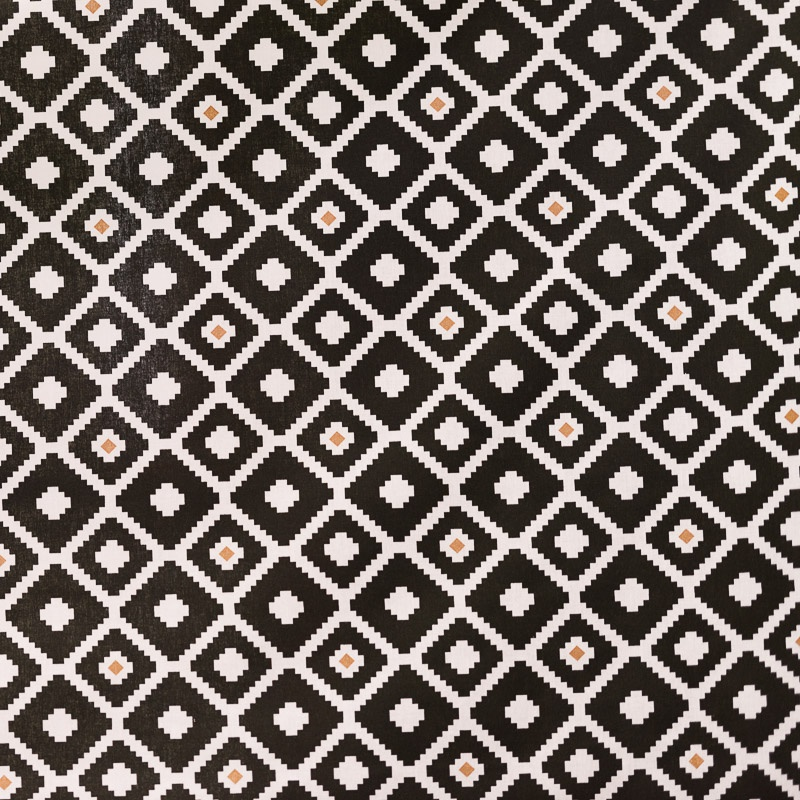 coton noir et blanc imprim ethnique pas cher tissus price. Black Bedroom Furniture Sets. Home Design Ideas