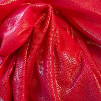 Résille extensible rouge à paillettes dorées