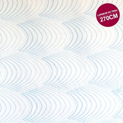 Coton percale blanc motif à pois bleu clair grande largeur