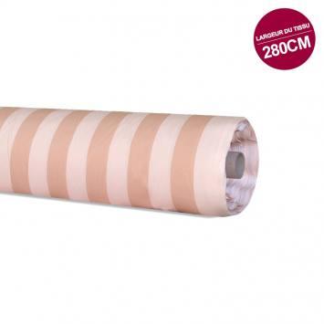Rouleau 20m coton percale à rayures peche et saumon grande largeur