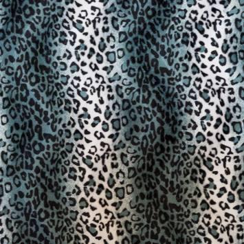 Fausse fourrure léopard bleue gris et blanche