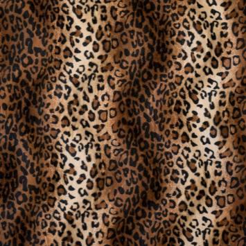 Fausse fourrure léopard marron clair et crème