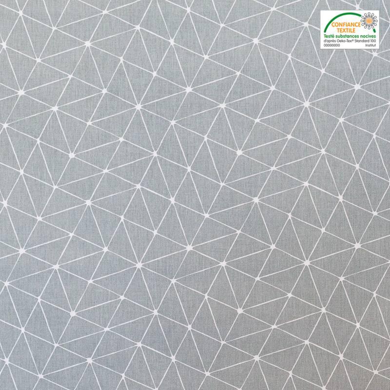 coton gris motif graphique blanc pas cher tissus price. Black Bedroom Furniture Sets. Home Design Ideas