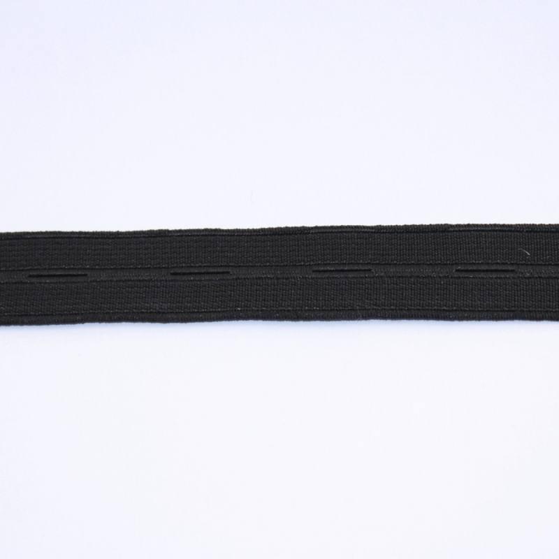 Elastique boutonnière noir 20 mm