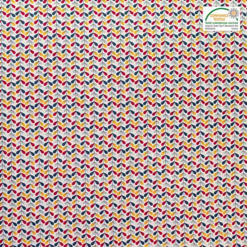Coton blanc imprimé feuille rouge, jaune et verte