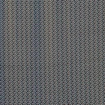 Tissu crêpe noir motif petites fleurs blanches