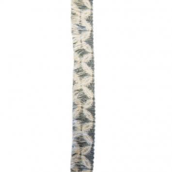 Ruban franges 30 mm fleurs kaki et écru