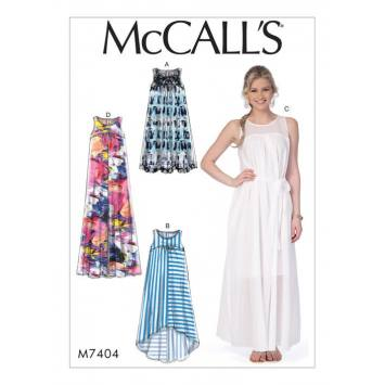 Patron Mc Call's M7404 : Robes et ceinture pour jeune femme 32-42