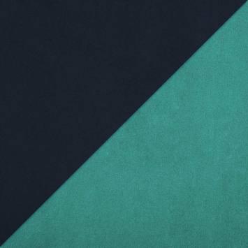 Suédine réversible bleu marine et turquoise