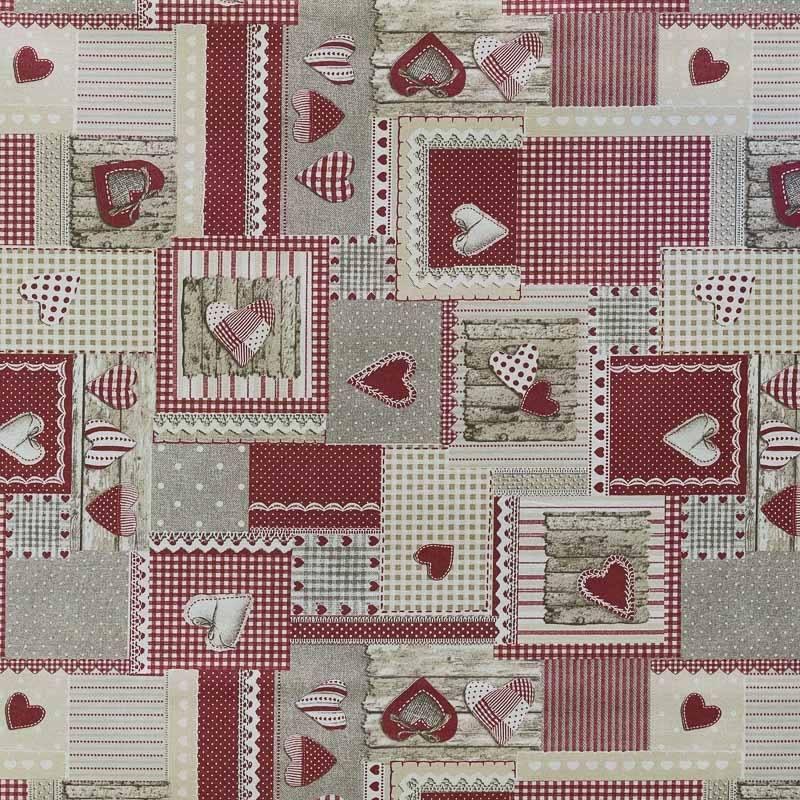 Coton enduit rouge love cuisine pas cher tissus price for Tissu impermeable exterieur pas cher