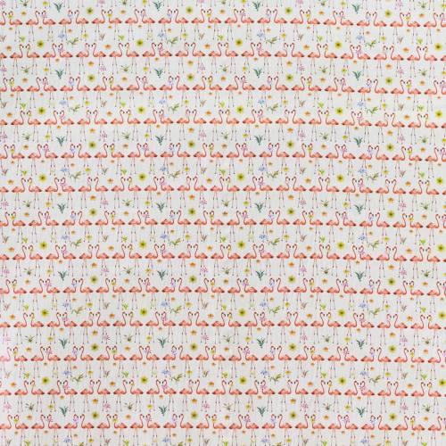 Popeline coton écru motif flamant rose