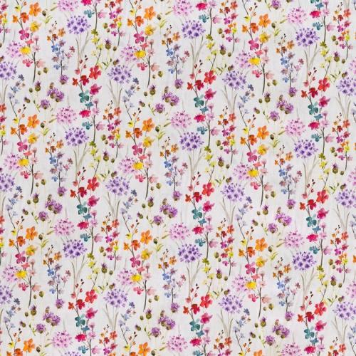 Popeline coton lilas à motif champêtre