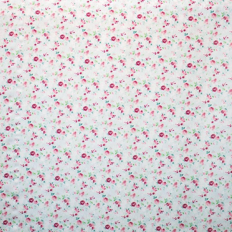 Popeline coton bleu pastel motif fleurs pas cher tissus - Tissu occultant pas cher ...