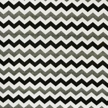 Toile polycoton imprimée zig zag blanche, noire et argentée