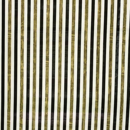 Toile polycoton imprimée à rayures blanches, noires et dorées