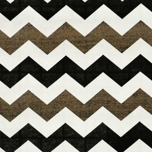 Toile polycoton imprimée zig zag blanche, noire et cuivre