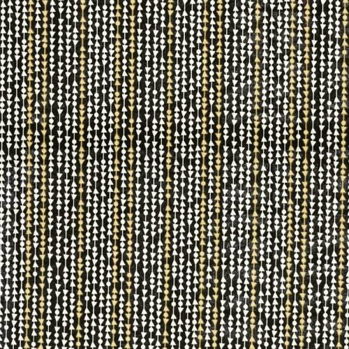 Toile polycoton noire imprimée frise dorée et blanche