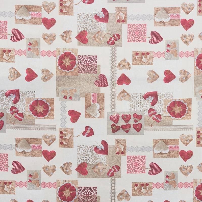 tissu enduit motif coeurs pas cher tissus price. Black Bedroom Furniture Sets. Home Design Ideas