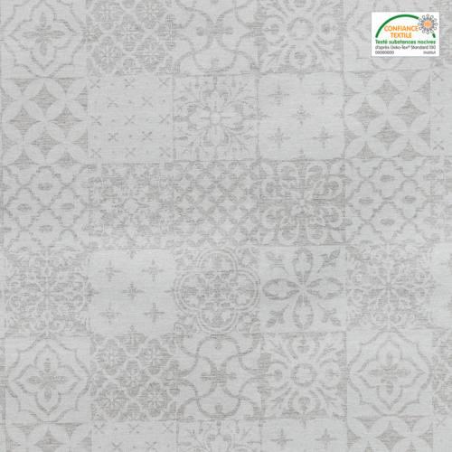 Jacquard enduit grège brillant à motif géométrique