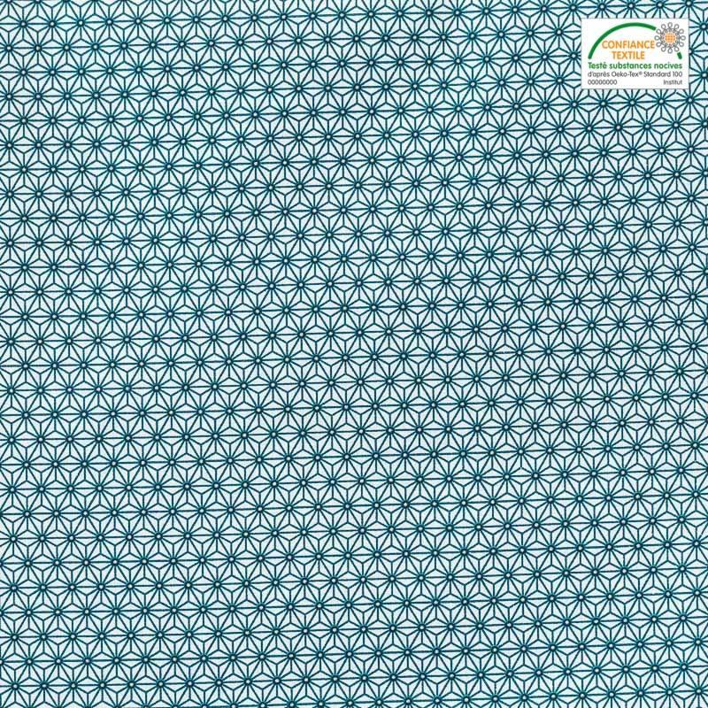 Coton blanc petit motif asanoha bleu canard